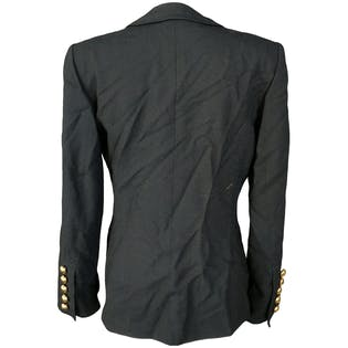 Black Blazer with Gold Buttons and Low Neckline by Adolfo