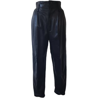 Black Faux Leather Joggers by Bee Bee
