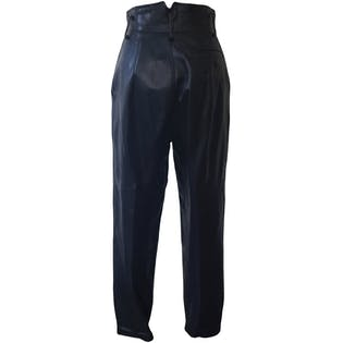 Black Leather Joggers by Bee Bee