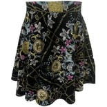 Black Gold and Pink Floral Print Skirt