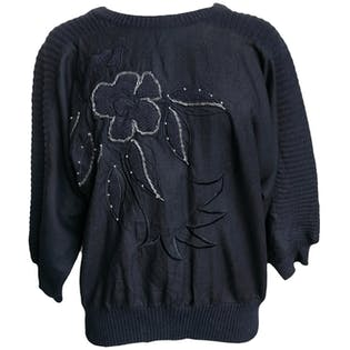 Black Knit Sweater with Flower Embroidery by P'Galli Petites