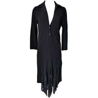 Black L/S Dress with Lace Insets by Romeo Gigli