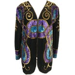 80's Silk Sequin and Beaded Jacket by Silhouettes