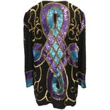 another view of 80's Silk Sequin and Beaded Jacket by Silhouettes