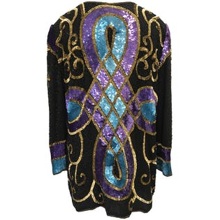 80's Silk Sequin and Beaded Jacket