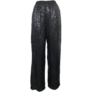 Black Sequin High Waisted Wide Legged Pants by Jeanette for St. Martin