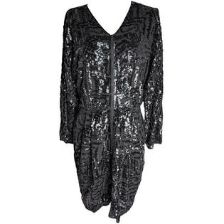 Black Sequin Zip Up Mini Dress by Theory