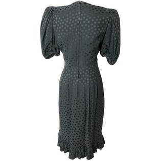Black Silk Party Dot Dress by Albert Nippon