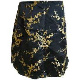 Black Skirt with Gold Floral Detailing by Via 101