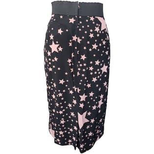 Black Skirt with Light Pink Stars by Dolce & Gabbana
