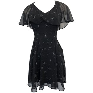 Black Star Print Flutter Collar Dress by Star Wars
