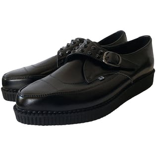Black Studded Creeper Loafers by TUK