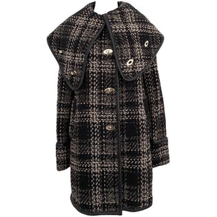 Black Tweed Coat with Gold Clasps by Rachel Zoe