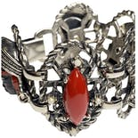 another view of Blackamoor Red & Black Silver Tone Bracelet by Selro Selini