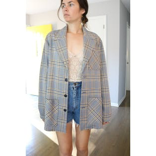 70's Blue Gold and Gray Plaid Oversized Blazer by Montgomery Ward