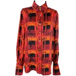 Red, Orange, and Black Silk Abstract Blouse with Logo Buttons by Louis Féraud