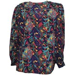 Multicolor Psychedelic Paisley Puff Sleeve Blouse by Che Studio