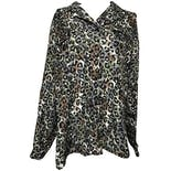 Black, Gray, Brown and Green Leopard Long Sleeve Button Down Blouse by Anna And Frank