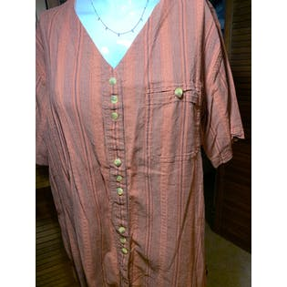 Orange and Faded Black Striped Button Up Blouse by Avenue