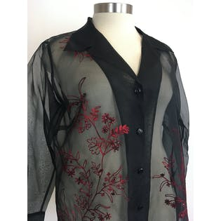 Sheer Silk Black and Red Floral Embroidered Blouse by Karen Kane