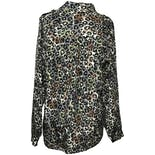 another view of Black, Gray, Brown and Green Leopard Long Sleeve Button Down Blouse by Anna And Frank