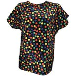 Black Blouse with Multicolor Polka Dot Buttoned Short Sleeve by Christie & Jill