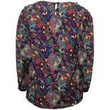 another view of Multicolor Psychedelic Paisley Puff Sleeve Blouse by Che Studio