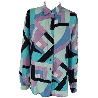 Abstract Geometric Purple, Blue, and Black Silk Blouse by Jones New York