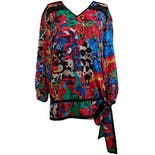 Colorful Abstract Blouse with Side Tie by Diane Freis