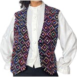 90's White Button Up Blouse with Attached Multicolor Geometric Print Vest