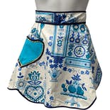 White and Blue Print Apron with Pocket