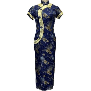 Blue Floral Ebroidered Cheongsam Dress by Annie's
