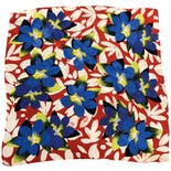 Blue and Red Floral Print Scarf