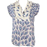 Blue Peacock Printed Short Sleeve Blouse with Lurex