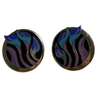 Blue and Purple Circle Lily Earrings by Laurel Burch