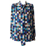 Blue and Brown Checkered Blouse by Teddi of California
