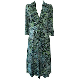 80's Blue & Green Paisley Silk Dress by Lilly Pulitzer