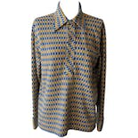 Blue and Orange Striped Shirt with Chain Pattern
