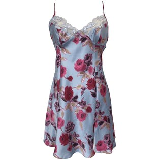 Blue and Pink Rose Print Mini Slip Dress by Victoria's Secret