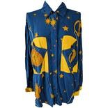 Blue and Yellow Sun and Moon Printed Pocket Button Up Shirt