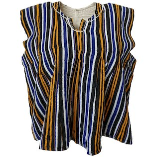 Blue, Black and Orange Woven West African Smock Top