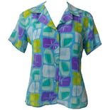 Blue Button Down with Green and Purple Squaresby Allison Taylor