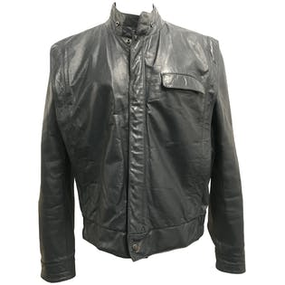 Blue Leather Biker Jacket by XLR8 Inc.