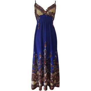 Blue Maxi Spaghetti Strap Sundress by She's Cool