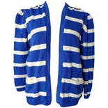 Blue Striped Cardigan with Pockets by St. John
