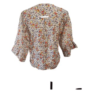 Blueberry Printed Blouse with Red and Yellow Flowers