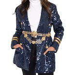 Navy Blue Sequin Blazer with Gold Accents by Lew Magram
