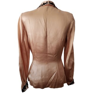 40's Blush Blazer with Black Beaded Trim