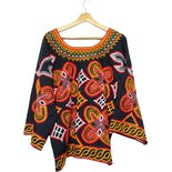 another view of Bold Colorful Embroidered African Blouse