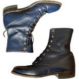 Navy Blue Justin Lace Up Roper Boots 6.5 7 by Justin Boots